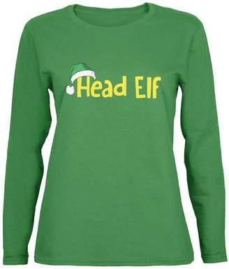 Old Glory Christmas Head Elf Womens Long Sleeve T-Shirt - 2X-Large