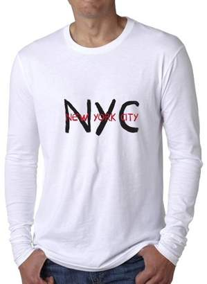 Hollywood Thread New York City Trendy NYC Red Black Print Men's Long Sleeve T-Shirt