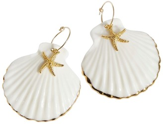 Poporcelain Golden Edge Clam Shell with Starfish Hoop Earrings