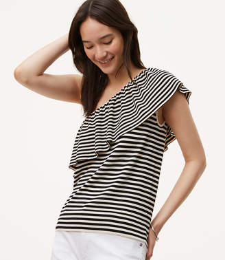 Striped Ruffle One Shoulder Sweater $49.50 thestylecure.com