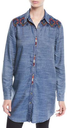 Tolani Tina Button-Front Long Chambray Tunic w/ Embroidery, Plus Size