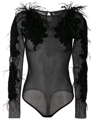 Amen sheer feather trim body