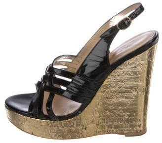 Saint Laurent Slingback Platform Wedge Sandals