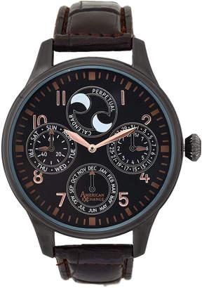 American Exchange AM4017 Gunmetal Tone & Brown Croc-Embossed Watch
