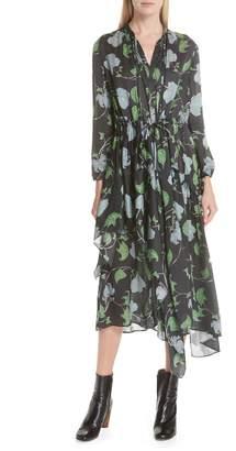 Christian Wijnants Floral Print Asymmetrical Silk Charmeuse Dress