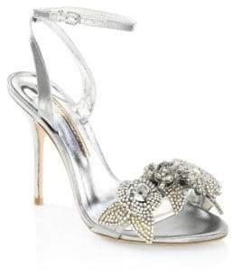 Sophia Webster Lilico Crystal-Embellished Metallic Ankle-Strap Sandals
