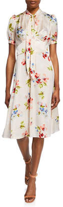 Jill Stuart Blush Floral-Print Tie-Neck Short-Sleeve Dress