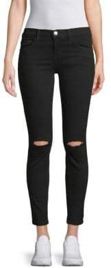 Current/Elliott The Distressed Stilletto Skinny Jeans With Raw Hem