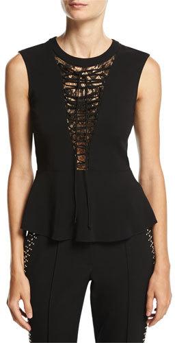 A.L.C.A.L.C. Marin Sleeveless Lace-Trim Peplum Top, Black