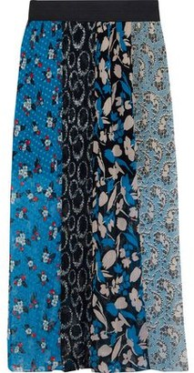 Anna Sui Printed Plisse Fil Coupe And Silk-chiffon Maxi Skirt