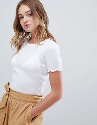 Monki frill edge ribbed t-shirt in white