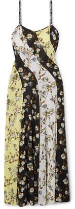 Off-White Paneled Floral-print Intarsia-trimmed Crepe De Chine Maxi Dress - Black