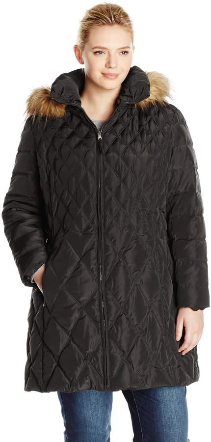 Jessica Simpson Outerwear Women's Plus-Size Mid-Length Diamond Quilted Down Coat Plus