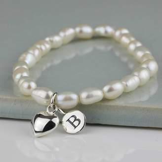 Nest Personalised Freshwater Pearl Heart Bracelet