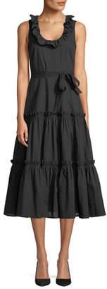 Co Sleeveless Ruffled Scoop-Neck Pointelle Cotton Voile Dress