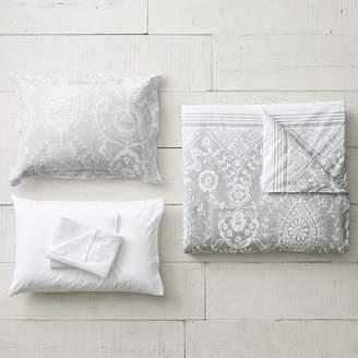 Pottery Barn Teen Natalia Duvet Bedding Set with Duvet Cover, Duvet Insert, Sham, Sheet Set + Pillow Inserts, XL Twin, Light Gray