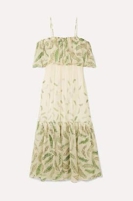 Three Graces London Zandra Rhodes Diana Cold-shoulder Ruffled Printed Silk-chiffon Dress - Green