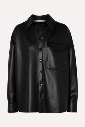 Tibi Oversized Faux Leather Shirt - Black