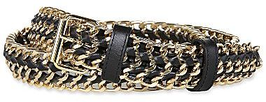JCPenney Metal Chain Leather Belt