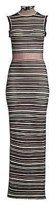 Herve Leger Women's Striped Lurex Knit Turtleneck Gown