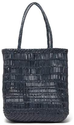 Dragon Optical Diffusion - Dora Woven Leather Tote Bag - Womens - Navy