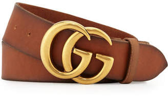 a2ab25d9d38277 Gucci Men's Leather Belt with Double-G Buckle