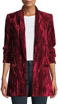 Alice + Olivia Kylie Easy Shawl-Collar Velvet Blazer