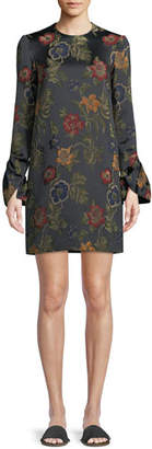 Rosetta Getty Long-Sleeve Floral-Jacquard Stretch Satin Shift Dress