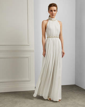 Ted Baker MAYYHA Ruched neck pearl maxi dress