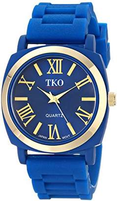 TKO Women's Round Metal Gold Bezel Royal Soft Rubber Band Roman Numeral Watch TK641BL