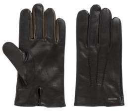 BOSS Hugo Nappa-leather gloves color contrast 9 Black