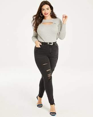 Chloe Washed Black High Waist Ripped Super Soft Skinny Jeans Regular Length