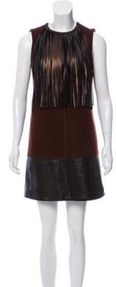 Louis Vuitton Fringe-Embellished Wool Mini Dress Brown Fringe-Embellished Wool Mini Dress