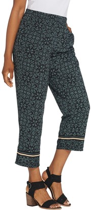 Linea By Louis Dell'olio by Louis Dell'Oio Regular Printed Crop Pull-On Pants