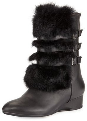 Taryn Rose Fritzy Fur Demi-Wedge Boot, Black $349 thestylecure.com