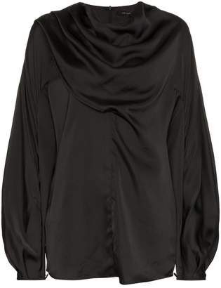 Low Classic tuck wrap high neck blouse