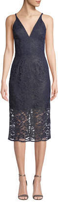 Dress the Population Lelani Mini-Illusion Corded Lace Dress