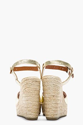 Marc by Marc Jacobs Metallic gold leather wedge espadrilles