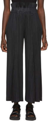 Pleats Please Issey Miyake Black Pleated High-Waisted Trousers