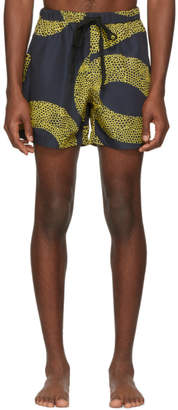Double Rainbouu Black and Gold Amnesia Night Swim Shorts