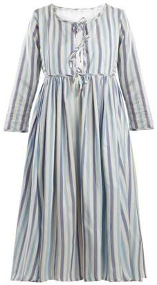Thierry Colson Sahar Tie Front Silk Dress - Womens - Blue Stripe