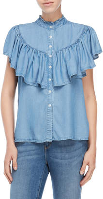 Velvet Heart Ruffle Yoke Chambray Top