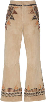 Alberta Ferretti Heavy Suede Embellished Crop Pant