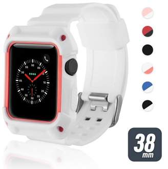38mm Apple Watch Band by Zodaca Rugged Protective Watch Band Replacement Strap For Apple Watch Series 1/2/3 38mm - White/Light Pink