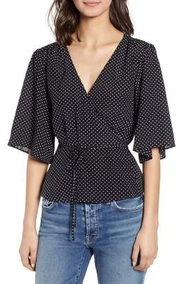 7 For All Mankind Short Sleeve Wrap Top