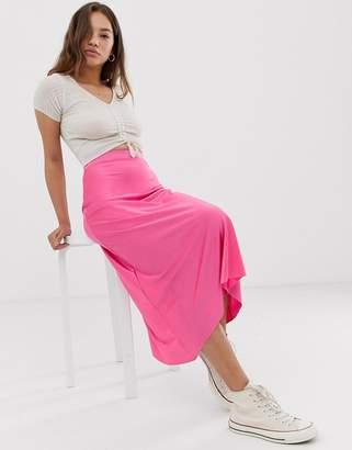 Pull&Bear midi skirt in pink