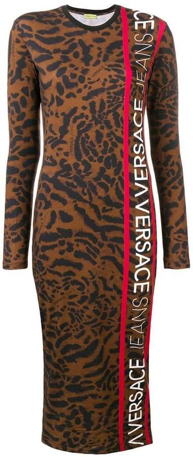 Versace Jeans leopard logo printed stretch dress