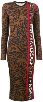 Versace leopard logo printed stretch dress