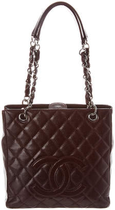204f808182e6 Chanel Burgundy Quilted Caviar Leather Petite Shopping Tote