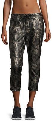 Koral Activewear Caliber Tuxedo Camo-Print Vegan Leather Sweatpants $276 thestylecure.com